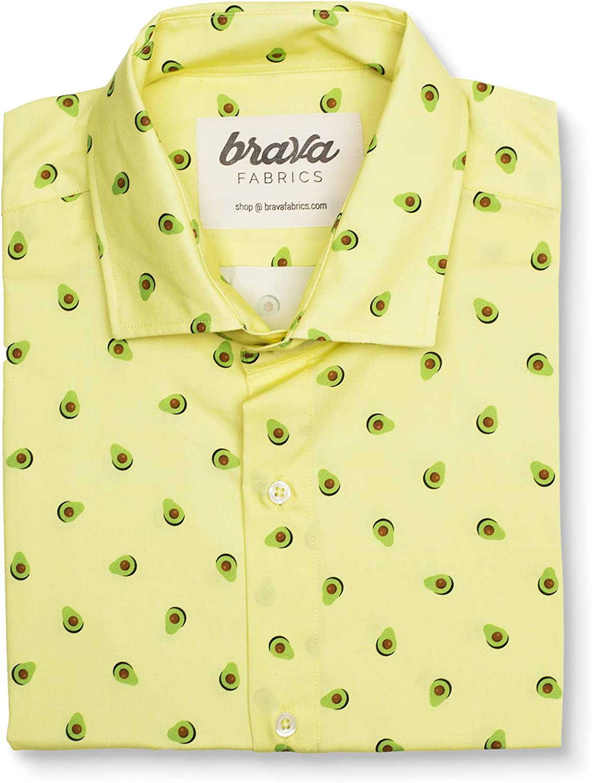 Brava Fabrics - Camisa Hombre Manga Corta Estampada - Camisa Amarilla para Hombre - Camisa Casual Regular Fit - 100% Algodón - Modelo Yellow Avocado Cocktail - Talla 3XL: Amazon.es: Ropa y accesorios