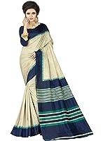 e-VASTRAM Womens Crepe Printed Art Silk Saree(V3108_Beige)