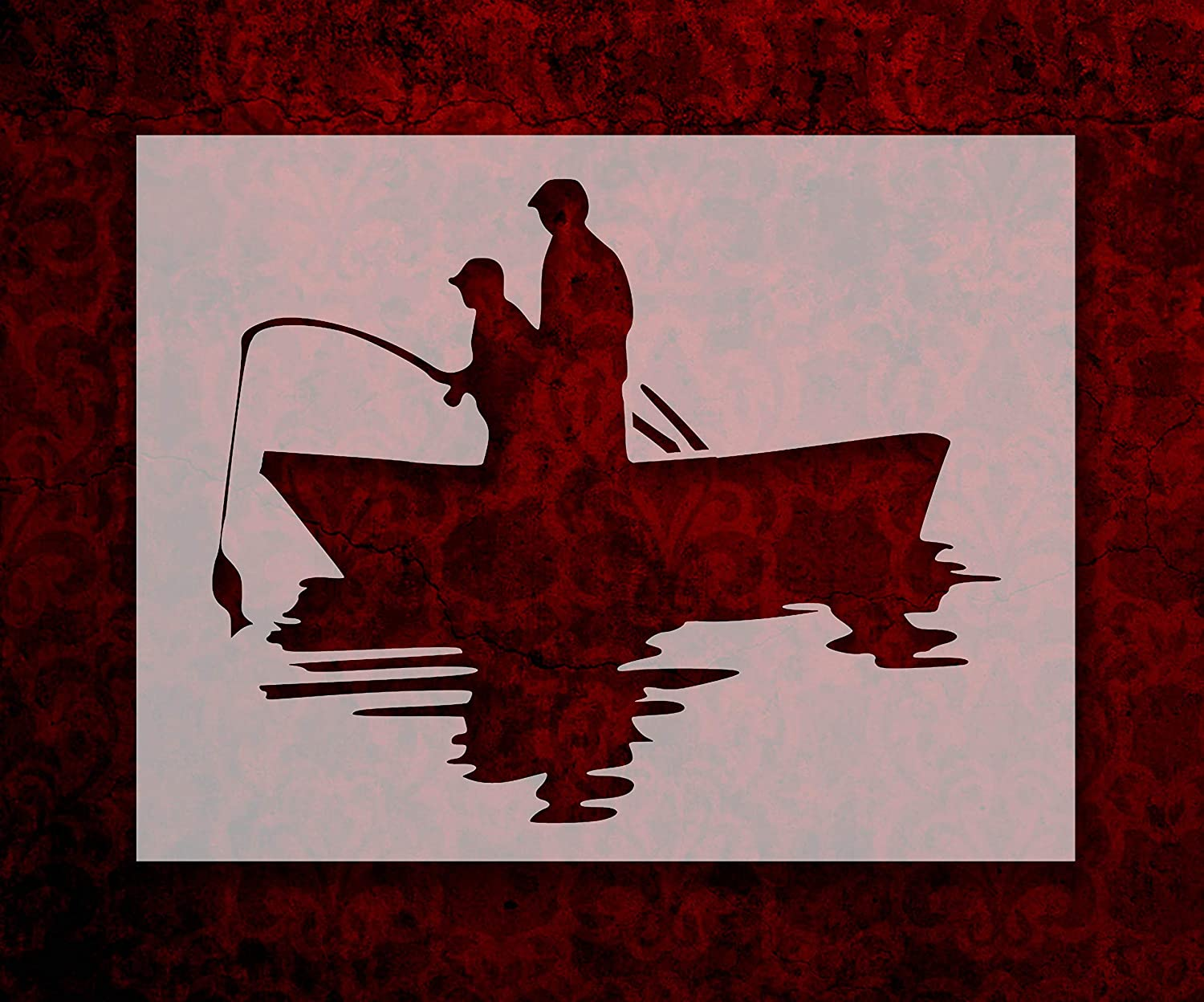 Father and Son Fishing in Boat 8.5 x 11 Inches Stencil 793