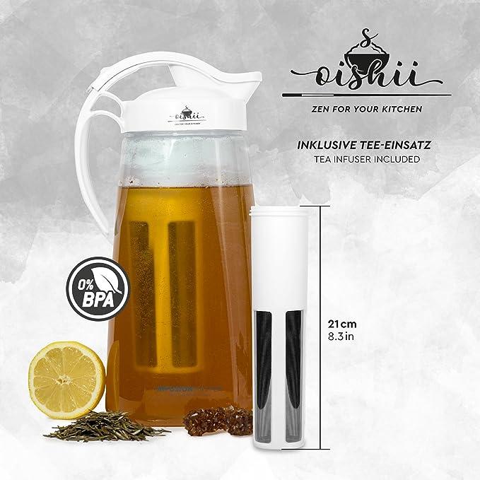 Oishii Infusion Master - Conjunto con infusor y jarra de 2200 ml - Inserción para té, fruta y molde para cubitos de hielo XXL - Color blanco: Amazon.es: ...