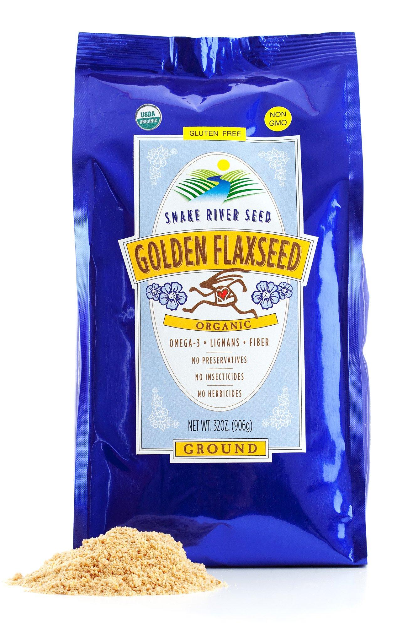 Farm Fresh 100% Natural Golden Flax Seed, 2lb, Freshly Ground, Organic, Gluten-Free, Non-GMO, Nutty Flavor
