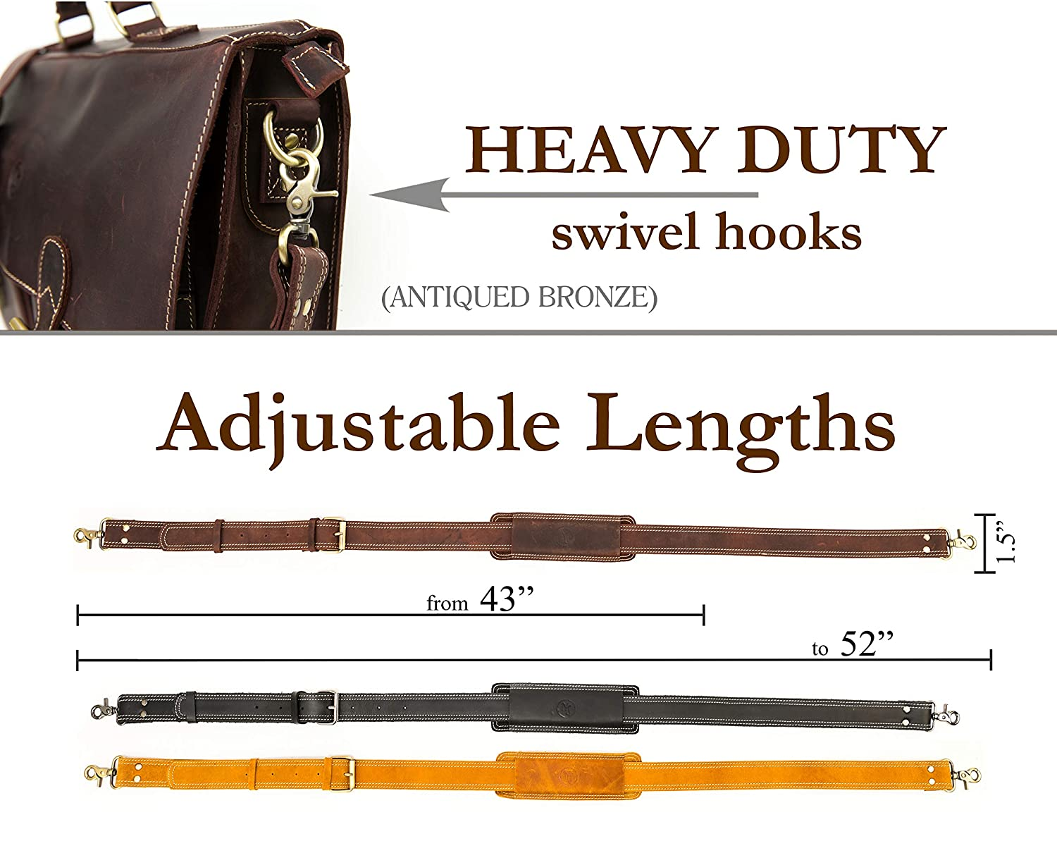 Messenger Bag Strap Replacement Quality Genuine Cowhide Leather Adjustable Shoulder Strap; for Messenger Camera Laptop Dark Brown Travel Bags and More