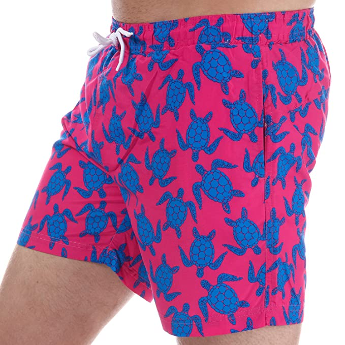 46f99b234e Image Unavailable. Image not available for. Color: Henleys Men's Turtle Patterned  Swim Short XS Pink