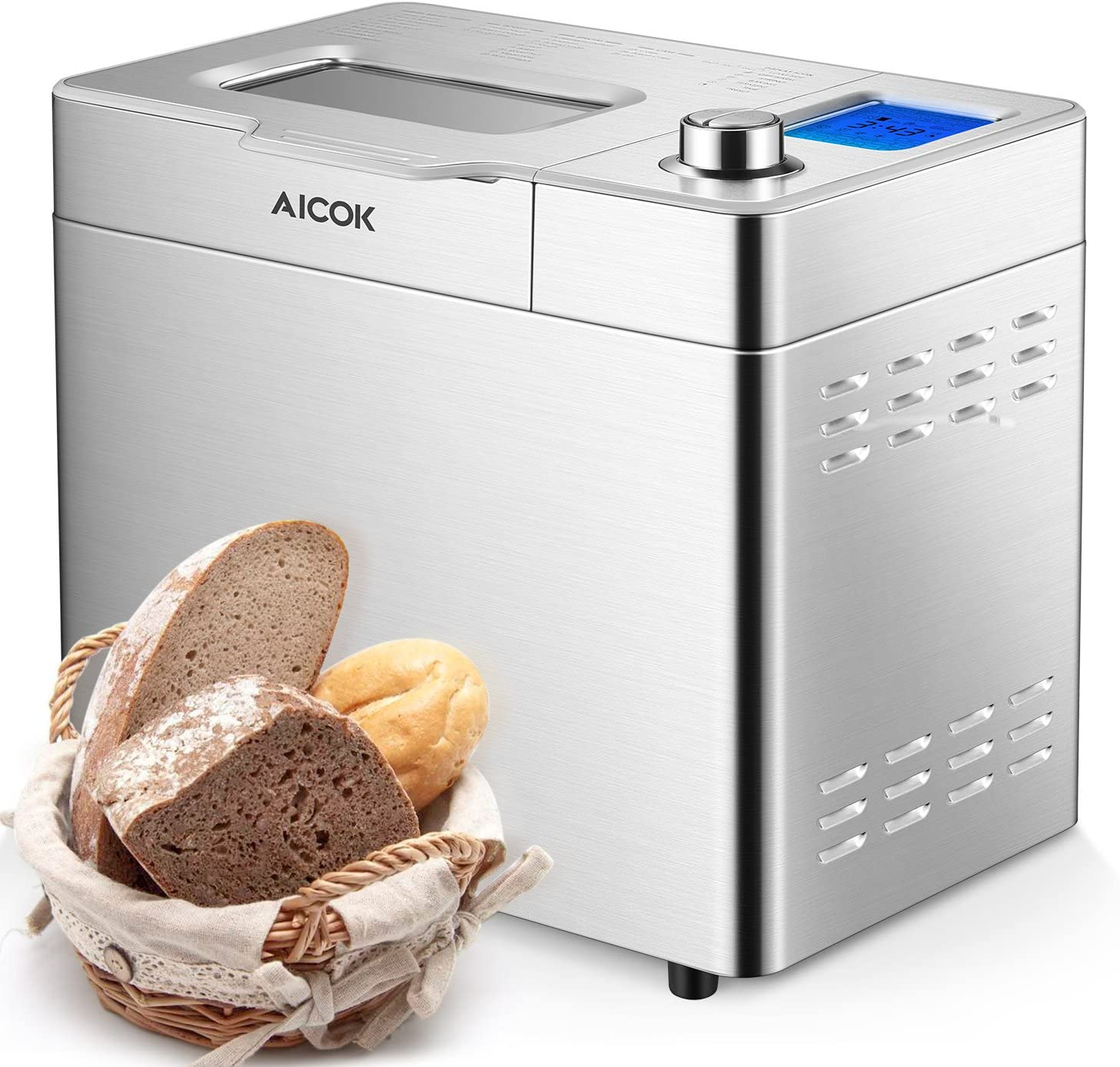 Aicok Stainless Steel Bread Machine, 2LB 25-in-1 Programmable XL Bread Maker with Fruit Nut Dispenser, Nonstick Ceramic Pan, 3 Loaf Sizes 3 Crust ...