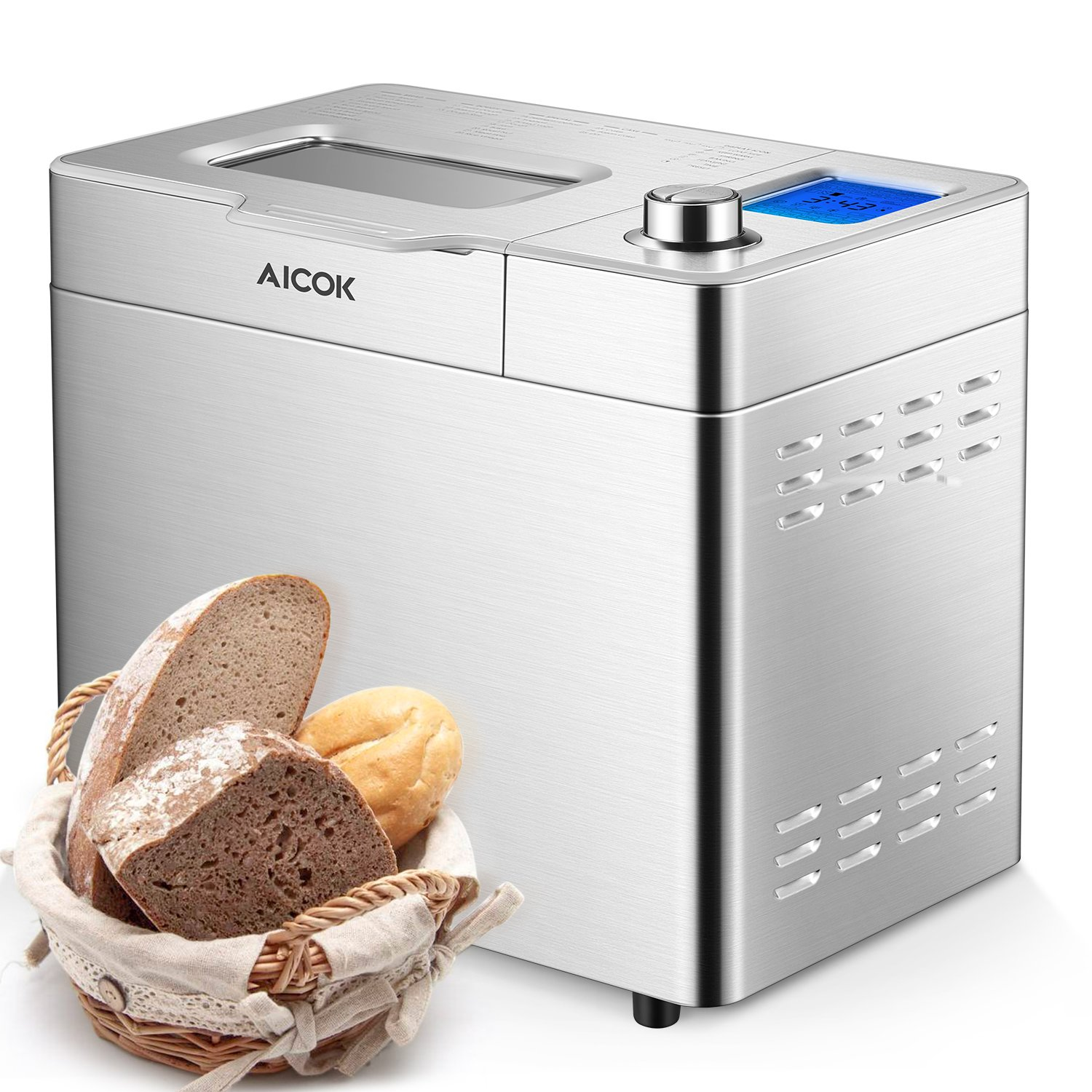 Aicok Stainless Steel Bread Machine, 2LB 25-in-1 Programmable XL Bread Maker with Fruit Nut Dispenser, Nonstick Ceramic Pan, 3 Loaf Sizes 3 Crust Colors, Gluten-Free Setting, Reserve& Keep Warm Set by AICOK