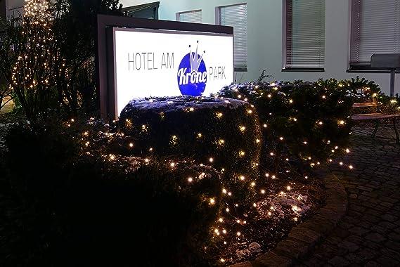 AUSSEN-Lichtervorhang Lichternetz Buchsbaumkugeln 144 warmweiße LED Weihnachten