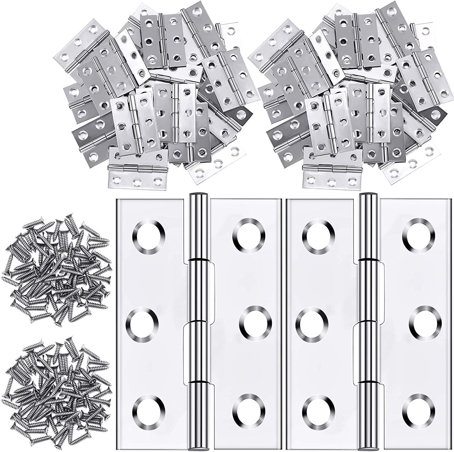 24 Pieces 1.8 Inch Stainless Steel Folding Butt Hinges Furniture Hardware Door Hinge with 144 Pieces Stainless Steel Screws for Cabinet Gate Closet Door (Silver)