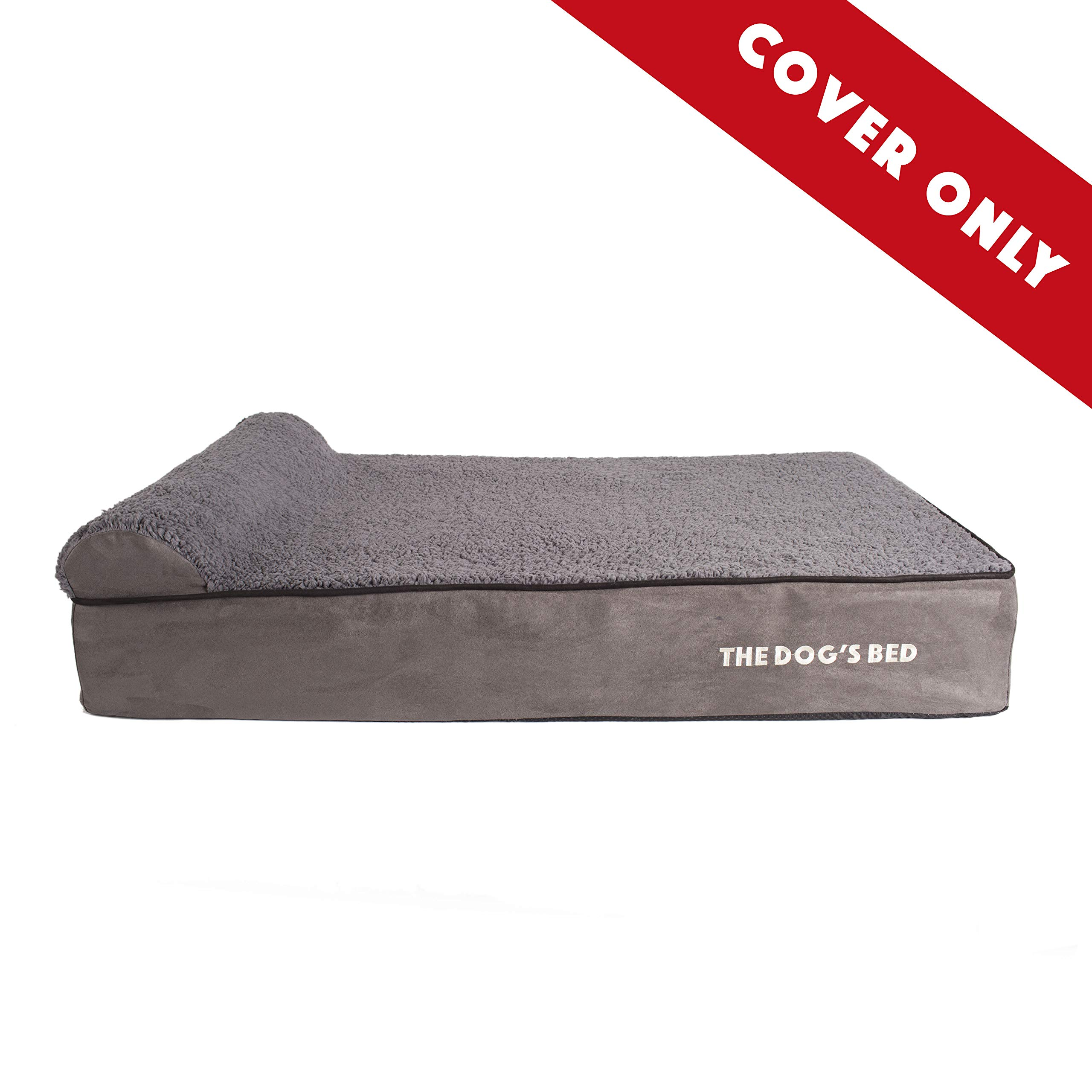 Replacement Outer Cover (Cover ONLY - NO Bed) for The Dog's Bed Orthopedic Memory Foam Dog Bed. Washable Quality Plush Fabric, Large 40'' x 25'' x 6'' (Grey Plush)
