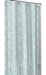 Teal Aqua Blue Grey White Canvas Fabric Shower Curtain  Beach Coral  Geometric Stripe DesignAmazon com  Blue Taupe and Beige Embossed Fabric Shower Curtain  . Coral And Teal Shower Curtain. Home Design Ideas