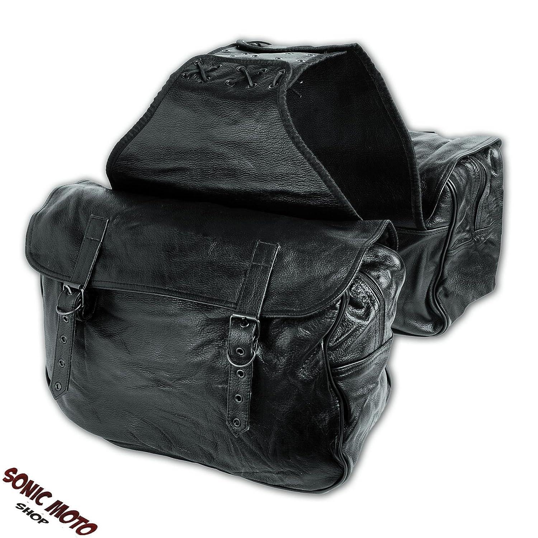 Motorrad Satteltasche weich Custom Rindsleder Paar Taschen Schwarz