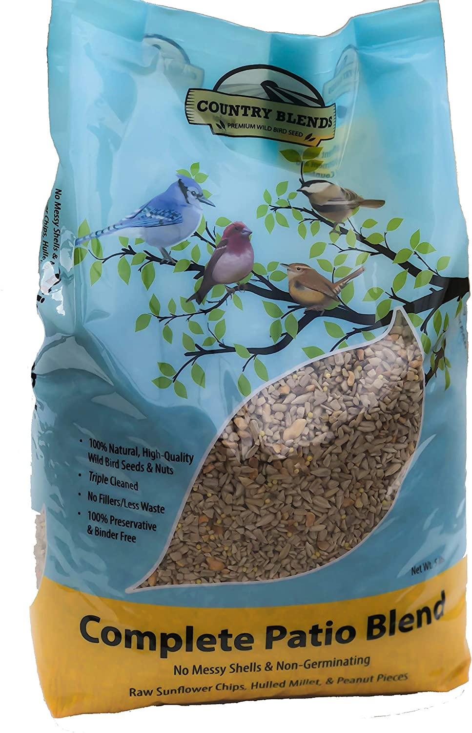 Country Blends Complete Patio Blend, 5 lbs Bag - Wild Bird Food Seed and Nut Mix