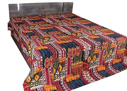 Indian Handmade Red Patchwork Kantha Quilt Blanket Bedding Duvet Queen Bedspread