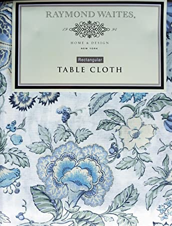 Raymond Waites Fabric Tablecloth Blue Yellow Light Green Gray Floral  Pattern On Cream    70