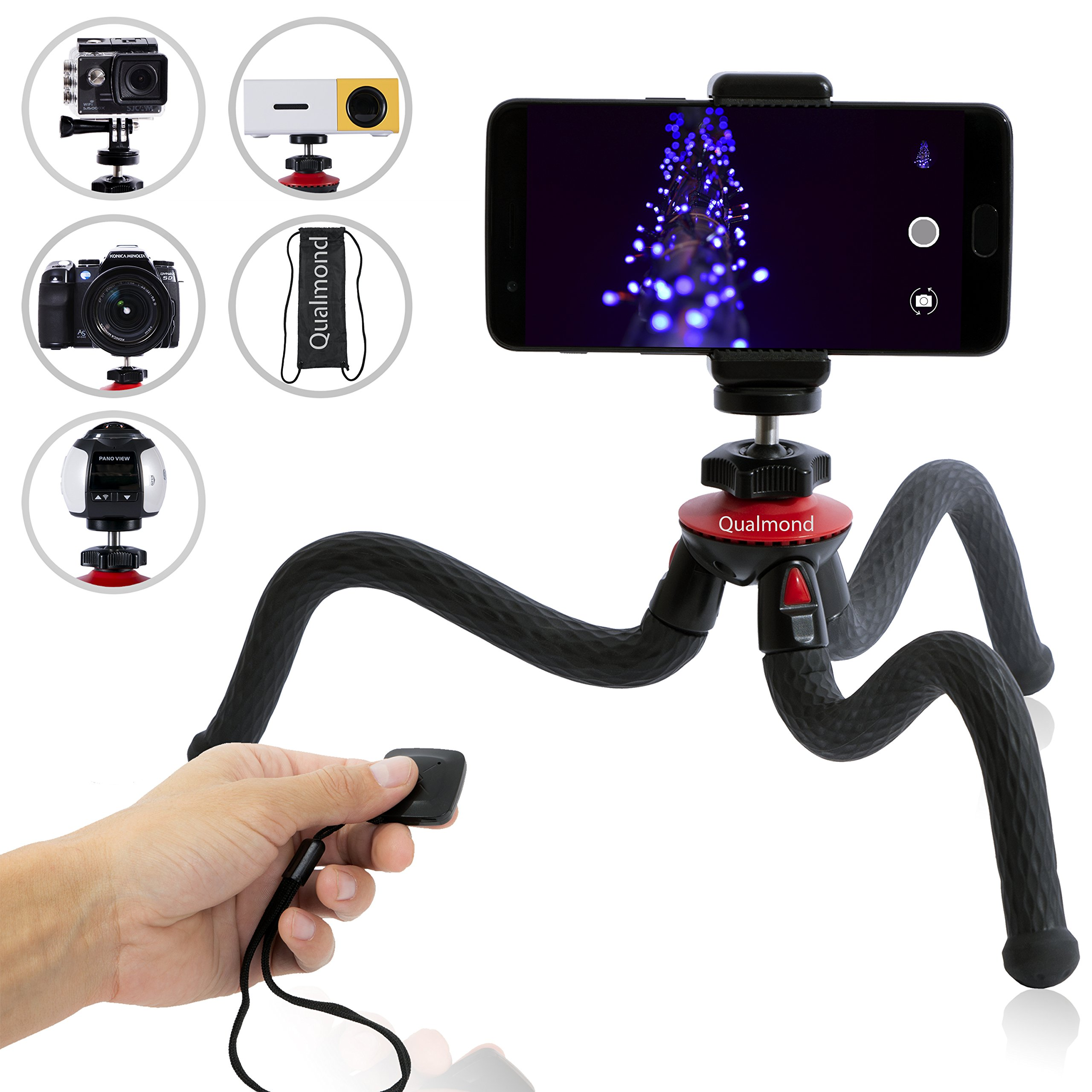 Qualmond Universal Flexible Tripod: Phone, Camera, Gopro Tripod Adapters For Iphone, DSLR, Smartphone-Sturdy,Lightweight, Handy Tripod Stand w/Bluetooth Remote Control-Octopus Style, Black&Red