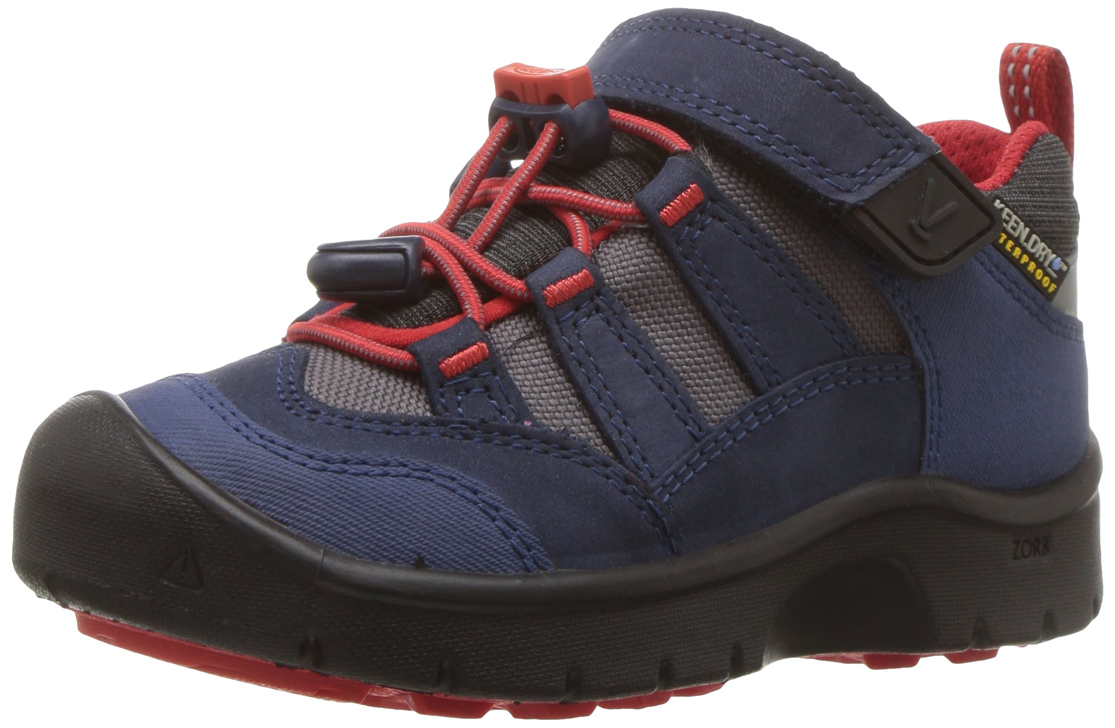 KEEN Kids' Hikeport WP Hiking Shoe,Dress Blues/Fiery Red,10 Toddler US Toddler