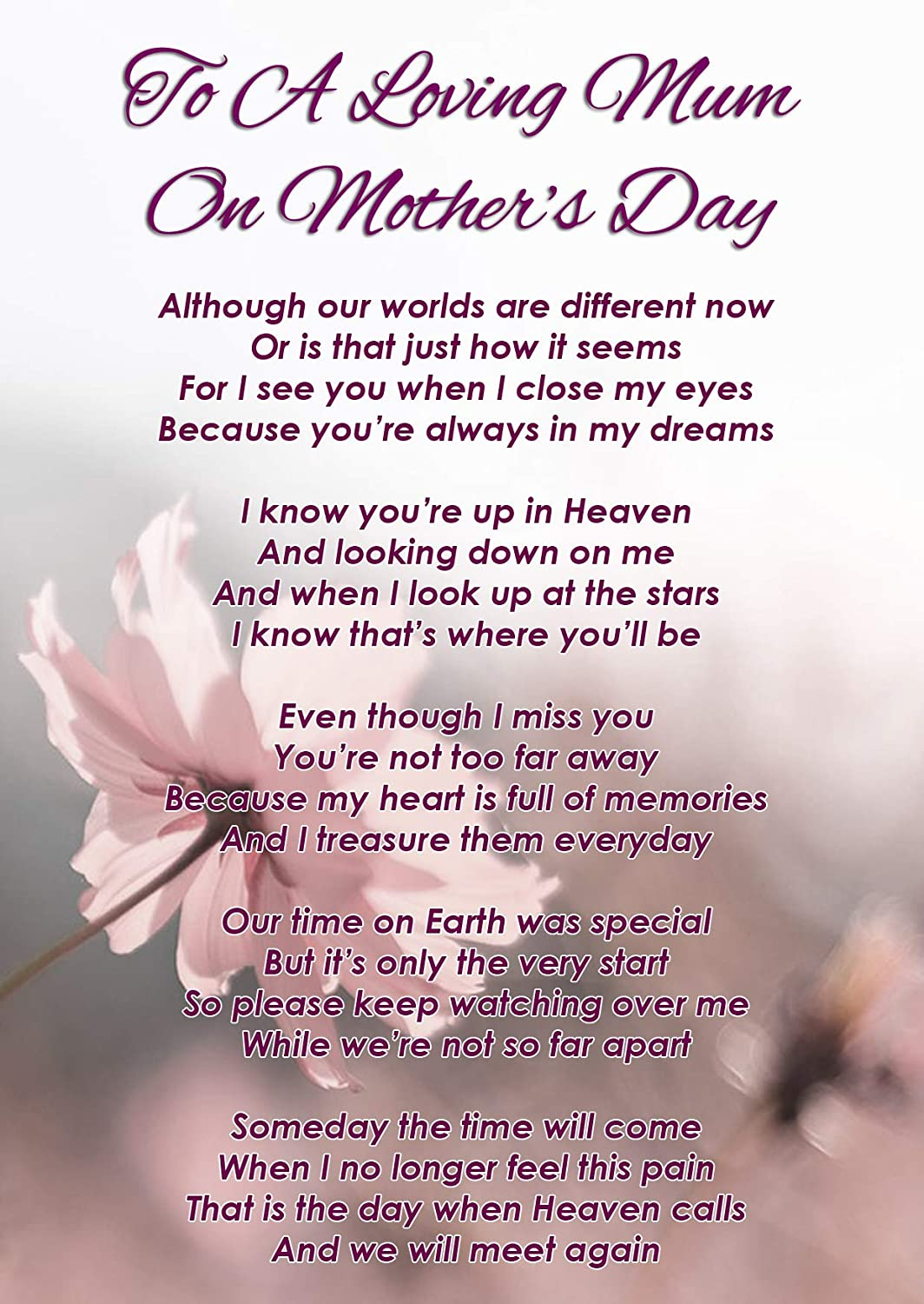 To A Loving Mum On Mother S Day Memorial Graveside Funeral Poem Keepsake Card Includes Free Ground Stake F348 Amazon Co Uk Office Products Read our selections of poems for mom. to a loving mum on mother s day memorial graveside funeral poem keepsake card includes free ground stake f348