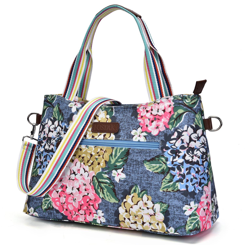 Floral Tote Bag Lightweight Waterproof Flower Pattern Shoulder Bag Handbag for Women