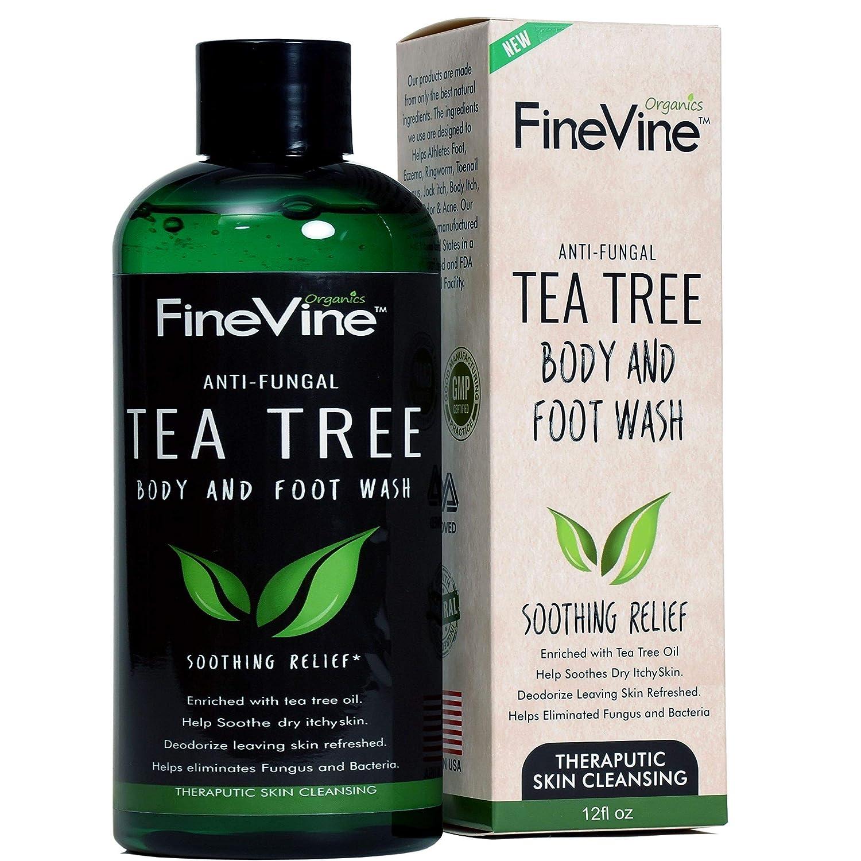 Antifungal Tea Tree Oil Body Wash - Made in USA - Helps Treat Eczema, Ringworm, Body Odor, Jock Itch, Acne, Toenail Fungus & Athlete Foot - Best Antibacterial Soap For Skin Irritations. FineVine Organics