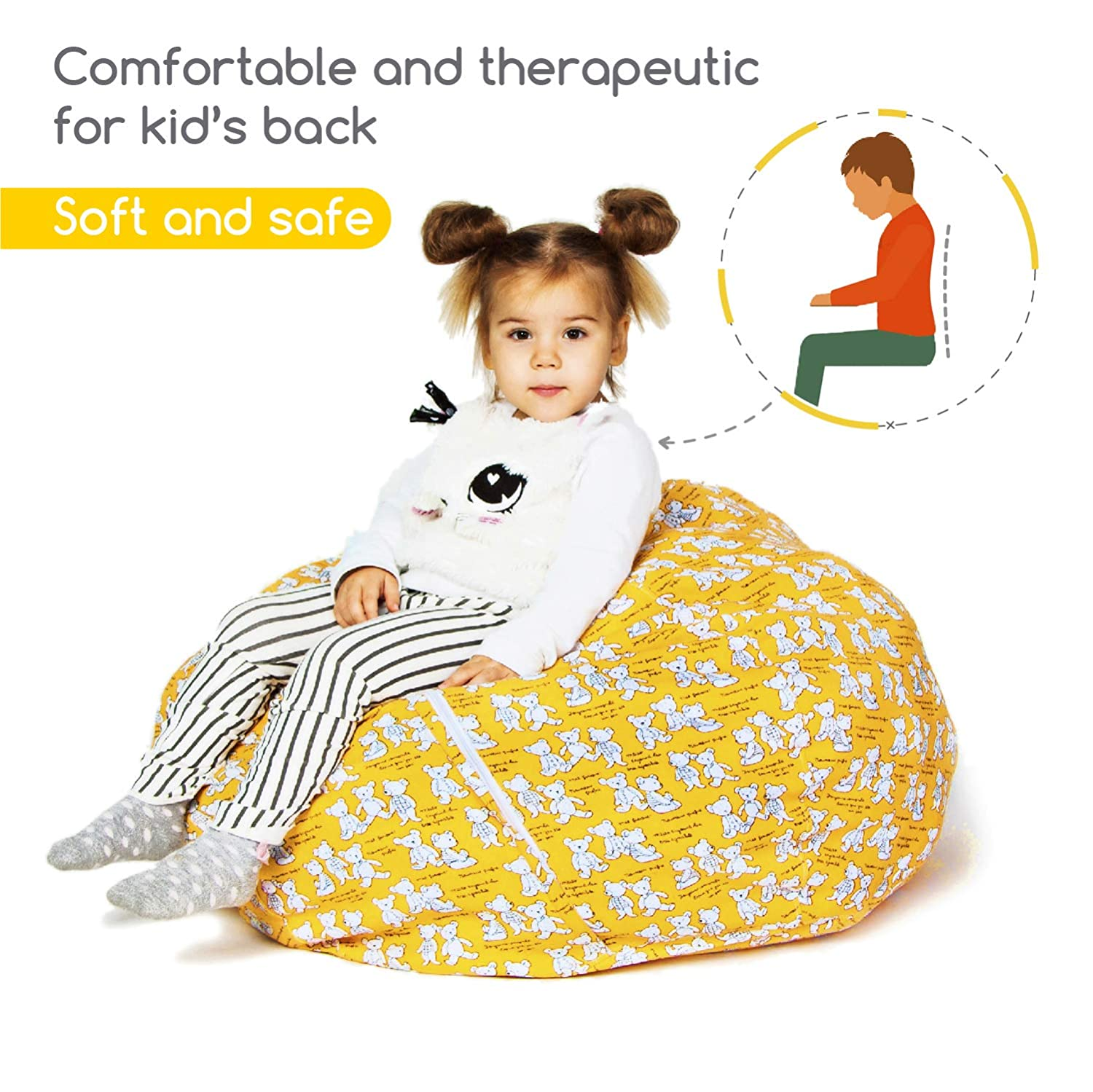 """Zupo Crafts Stuffed Animal Storage Bean Bag Great for Covers Plush Toys Towels Clothes BeanBag for Kids Toy Storage Bean Bag Cover Extra Large Size 38/"""" Soft Cotton Canvas Plush Toy Organizer"""