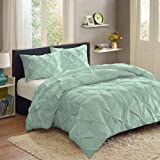 Sweet Home Collection  3 Piece Luxury Pinch Pleat Pintuck Fashion Duvet Set,Mint,King