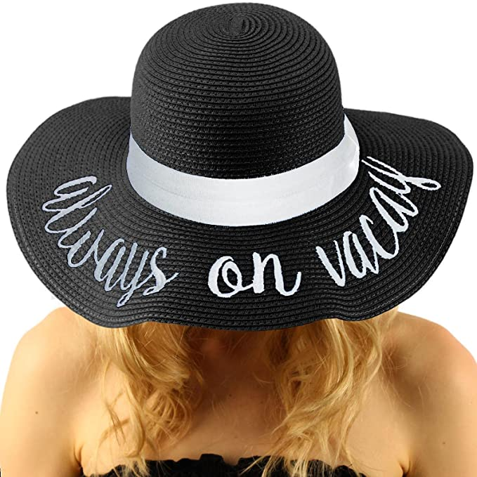 Black Beach Vibes Embroidered Straw Hat - OS / BLACK I Saw It First 2GB0dO6P