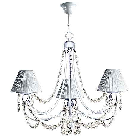 Lámpara de techo de 3 luces acabado blanco con pantallas de ...