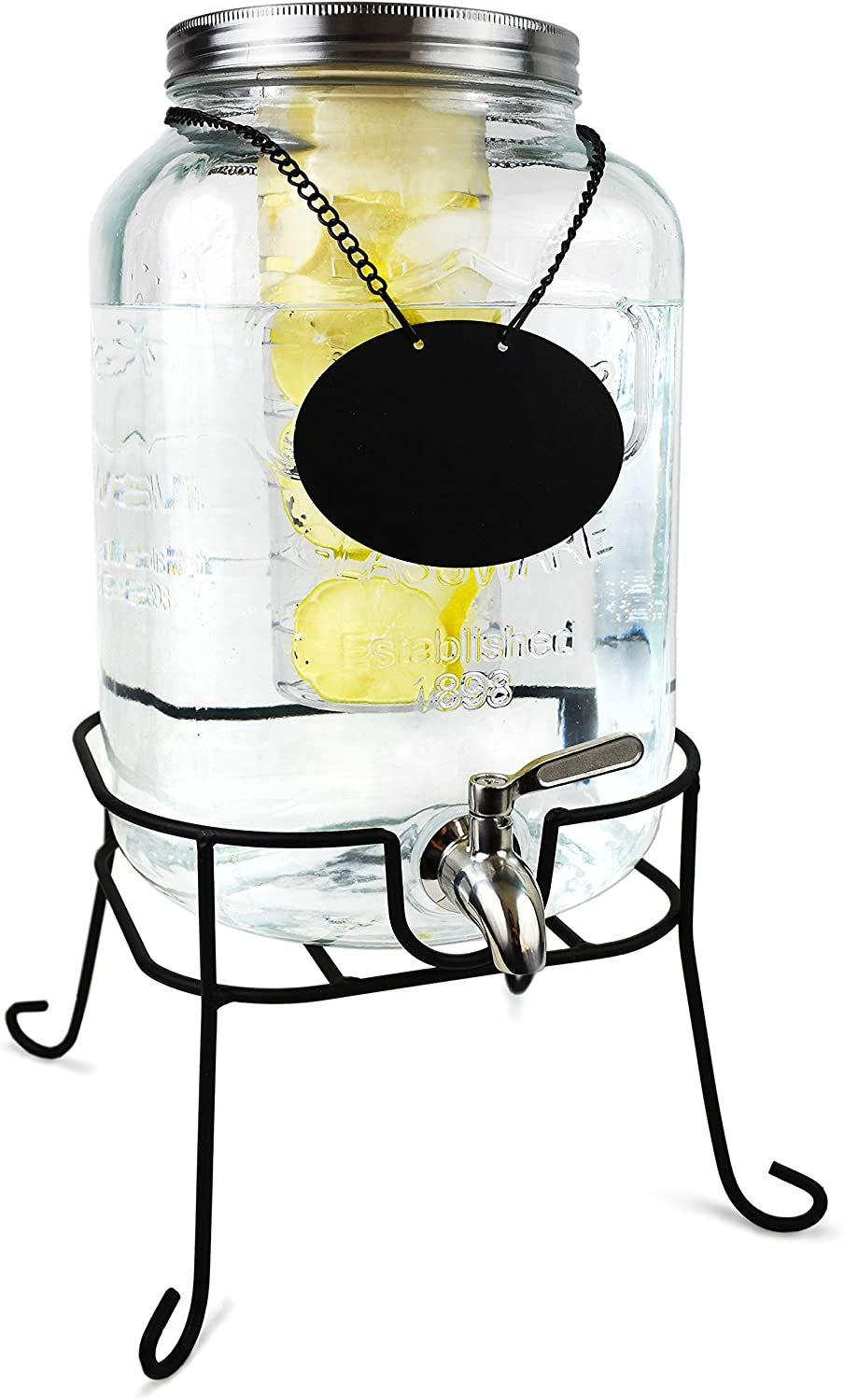 Glass Beverage Dispenser with Fruit Infuser – Ice Cold Drink Container Metal Stand Set Chalkboard Outdoor Server - 2 Gallon Stainless Steel Spigot