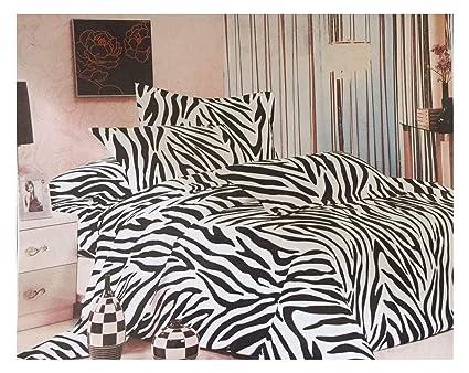 Funda Nordica Cebra.Bullahshah Negro Cebra Rayas Camuflaje Funda Nordica Juego De Cama Con Fundas De Almohada Negro Blanco Doble