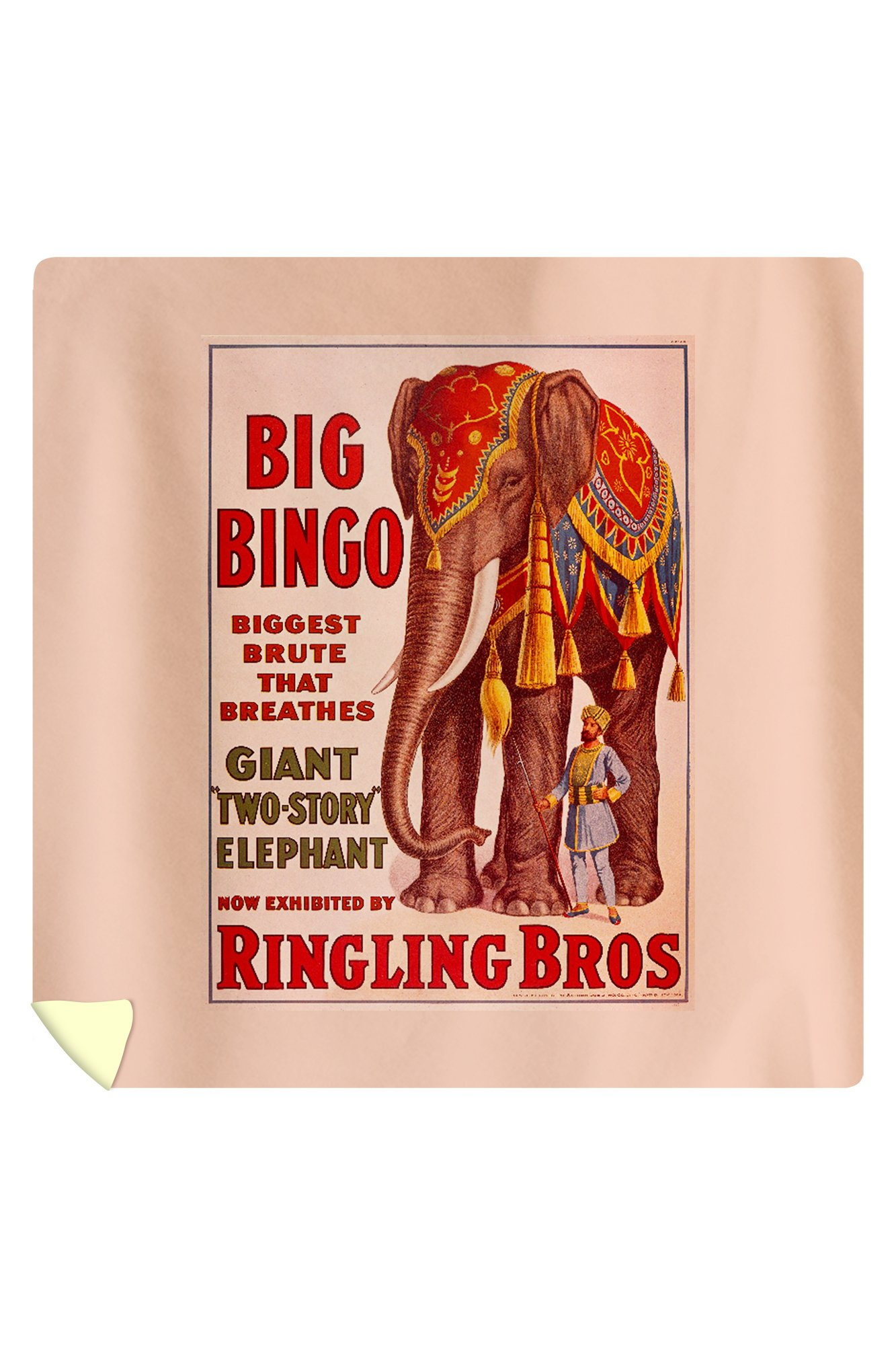 Ringling Bros - Big Bingo Vintage Poster USA c. 1916 (88x88 Queen Microfiber Duvet Cover) by Lantern Press