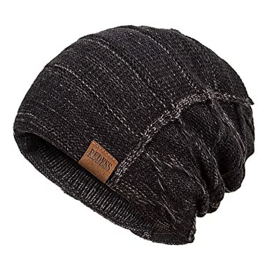 4b6ffe48301 REDESS Beanie Hat for Men and Women Winter Warm Hats Knit Slouchy Thick  Skull Cap(Black)  Amazon.co.uk  Clothing