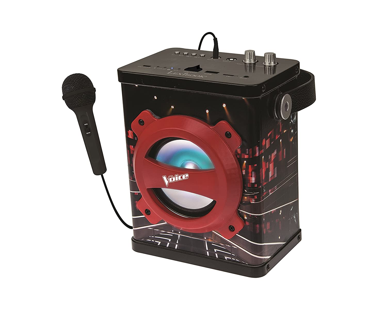 Ports AUX-in Batterie Rechargeable lumi/ères et poign/ée K920TV Lexibook The Voice La Plus Belle Voix Enceinte Bluetooth Portable avec Micro Noir//Rouge 10 Watts USB et Micro SD