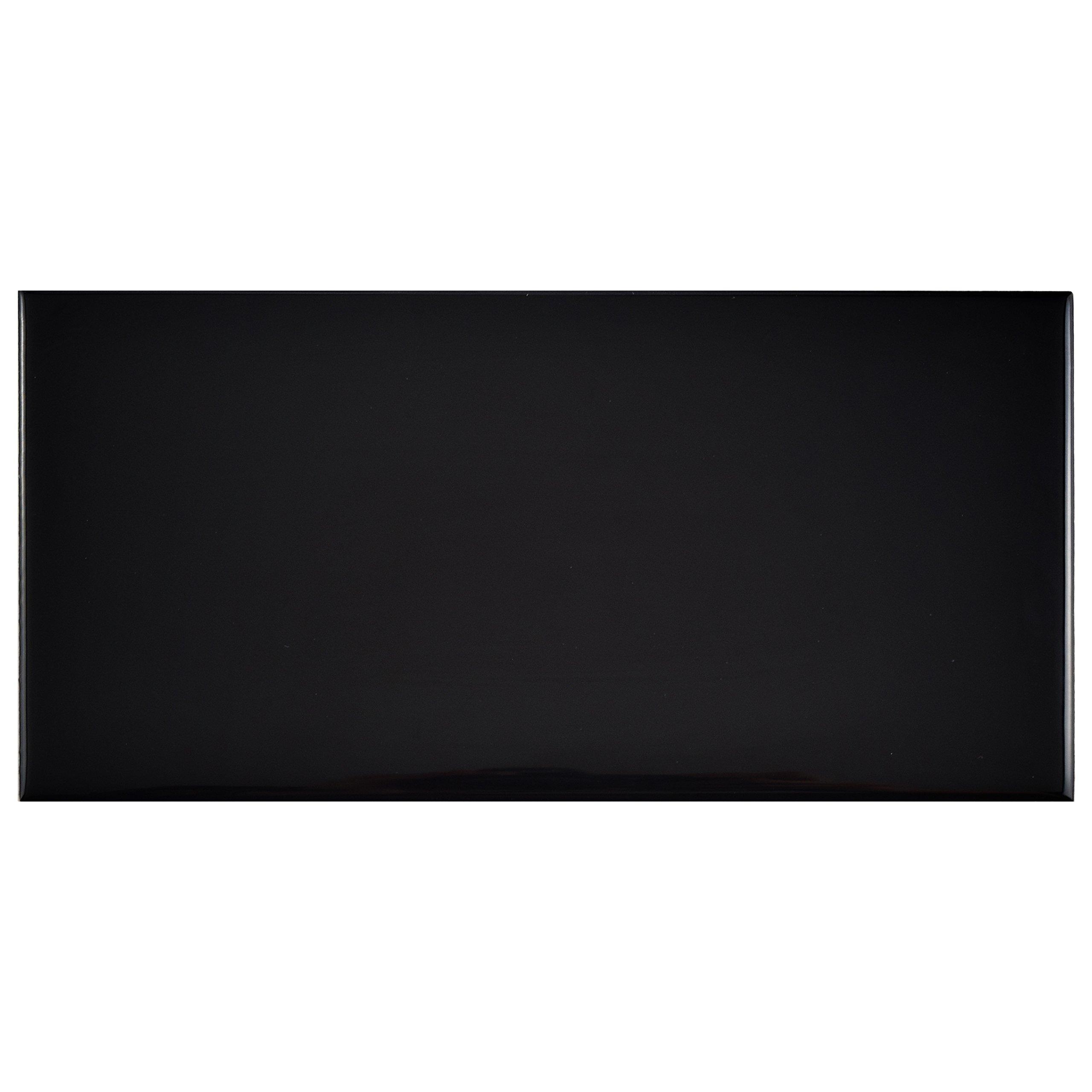SomerTile WXR3PSGB Pente Subway Ceramic Wall Tile, 3'' x 6'', White/Glossy Black
