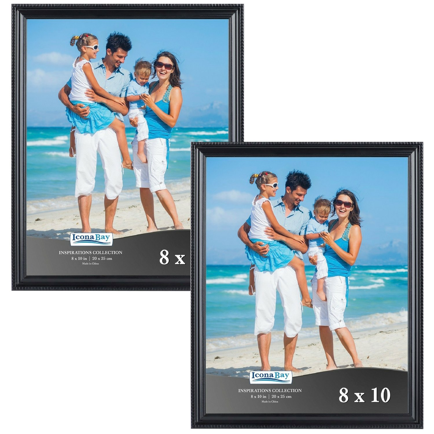 Icona Bay 8x10 Black Picture Frames Set (8 by 10, 2-Pack, Black), Wall Mount or Table Top Black Picture Frame, Display 8 by 10 Frame Vertically, or Horizontally as 10x8, Inspirations Collection