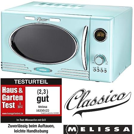 Melissa 16330122 Retro Classico Microondas/900 Micro de 1000 W Volumen 25 litros./Diseño Microondas con función grill/Peppermint