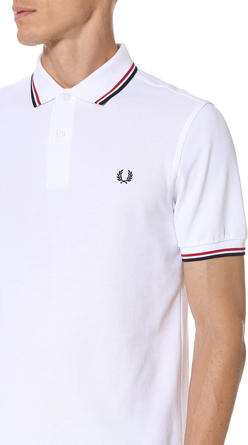 Fred Perry Men's Twin Tipped Polo Shirt White/Bright Red/Navy