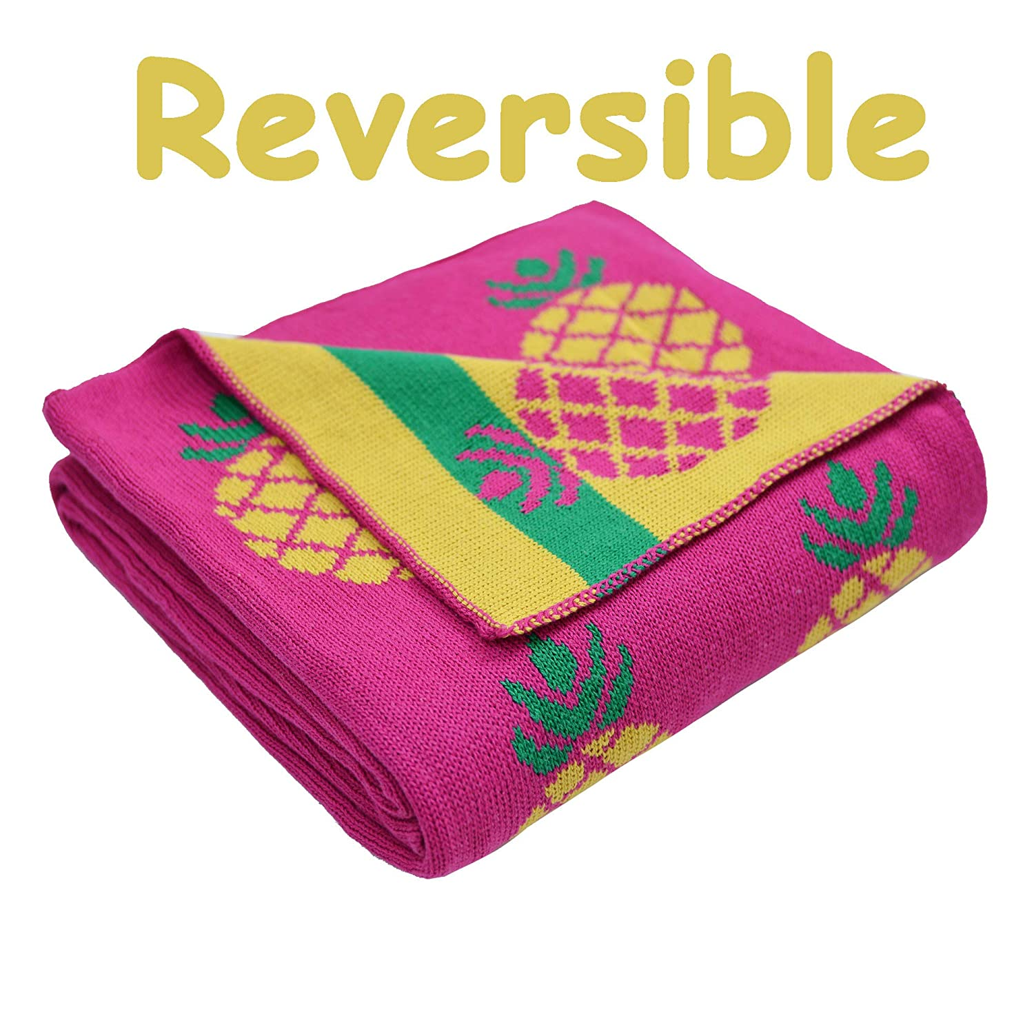 Brandream Yellow Pineapple Knit Throw Blanket Kids Decorative Throw Blanket for Couch Bed Pineapple Decor Gifts 43 X 51 Snuggling Travel Picnic Everyday Use