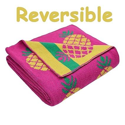 Brandream Pink Pineapple Throw Blankets Cute Pineapple Gifts Knitted Throw  Blankets for Women Teen Girls 9d4127a7f0