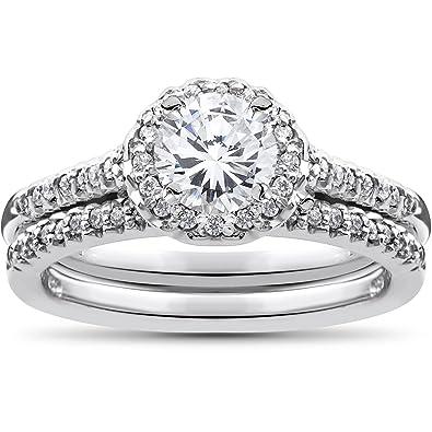 34ct Diamond Halo Wedding Engagement Ring Set 10K White Gold