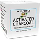 Sbiancamento Denti Con CARBONE ATTIVO 100% Naturale | Premium Coconut Active Carbon 100% Natural | Effective Teeth Whitening Powder | Senza Prodotti Chimici e Additivi Sintetici | Denti Bianchi | RAY OF SMILE Premium Line