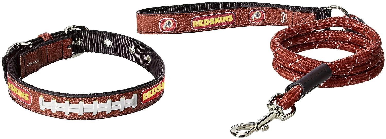 NFL Washington Redskins Pebble Grain Football Collar & Large Leash Gift Pack, Medium, Brown