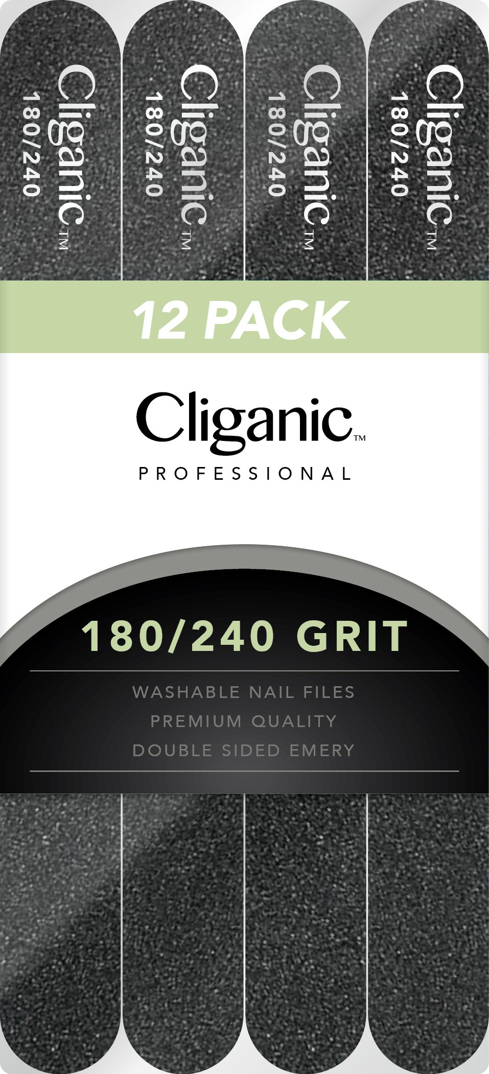 Professional Nail File Set: 180/240 Grit | Emery Boards for Natural, Gel & Acrylic Nails | Washable Double Sided Kit | Cliganic 90 Days Warranty