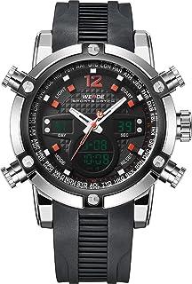 WEIDE Military Digital para Hombre Sport analógico de cuarzo doble tiempo de goma reloj infantil con