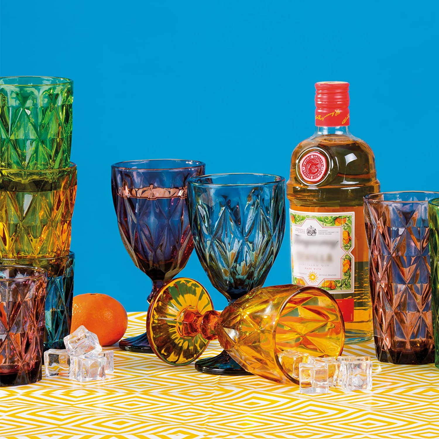ARTLAND Set of 4 Highgate Goblets, Multi Colour, 9 x 9 x 17