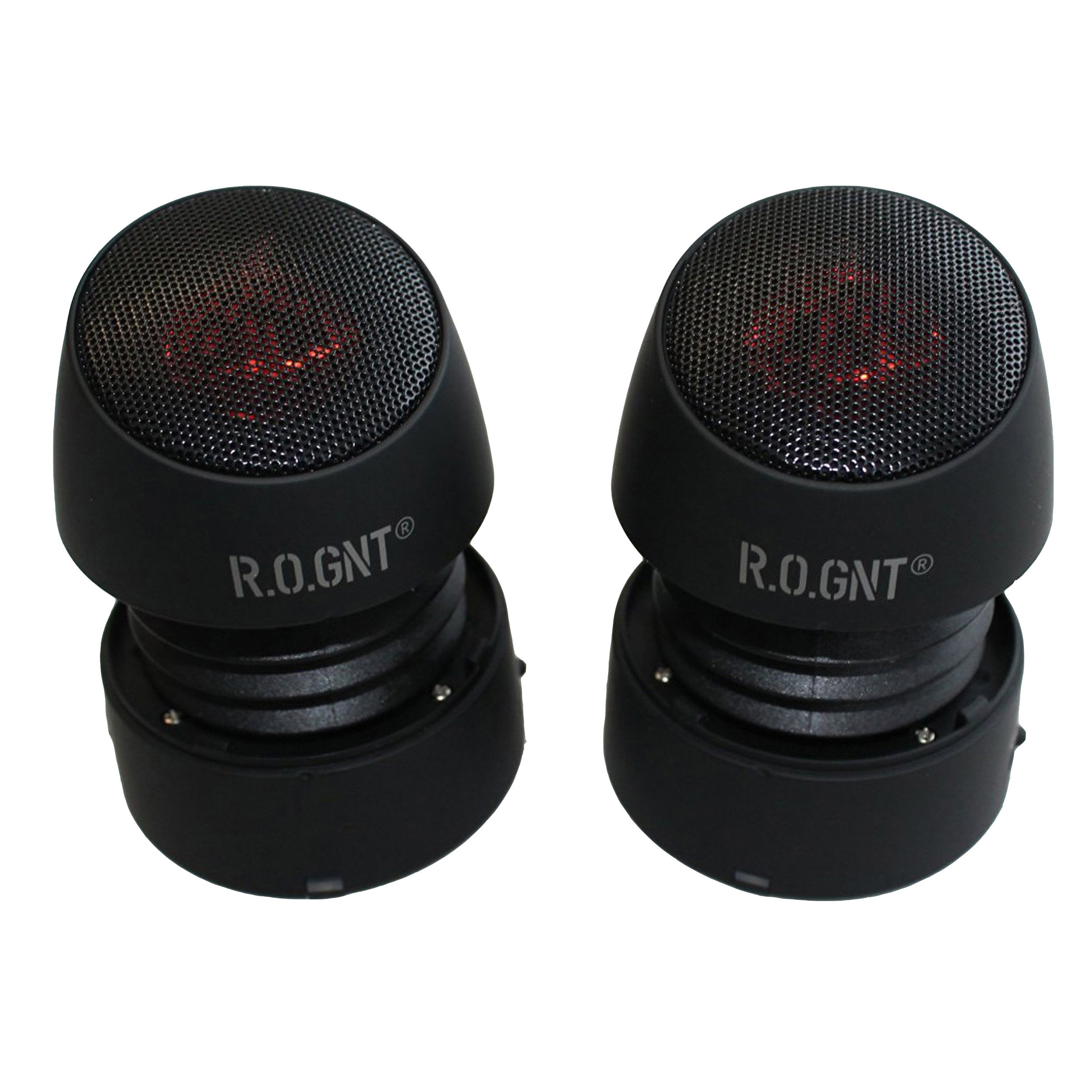 R.O.GNT Portable Wired MP3 Twin Capsule Speakers for Mobile Devices, Smartphone, iPhone and Tablet, Laptop, Notebook (Wired, Twin Capsules) (Black) by R.O.GNT (Image #2)