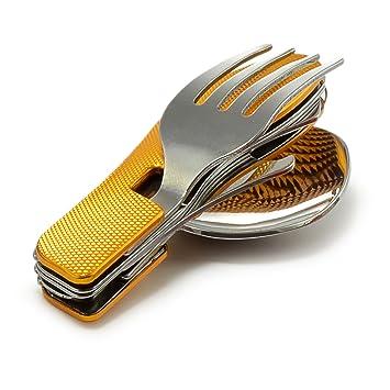 4 – Piezas Cubertería Acampada con Asa de aluminio geriffeltem (Cuchillo, Tenedor, Cuchara