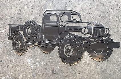 Amazon Com Dodge Power Wagon Metal Art Wall Decor Polished Silver