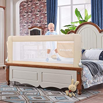 Beige 59 Inch Adjustable Bed Rail Guardrai with Reinforced Plate Baby Toddler Bed Rail Guard