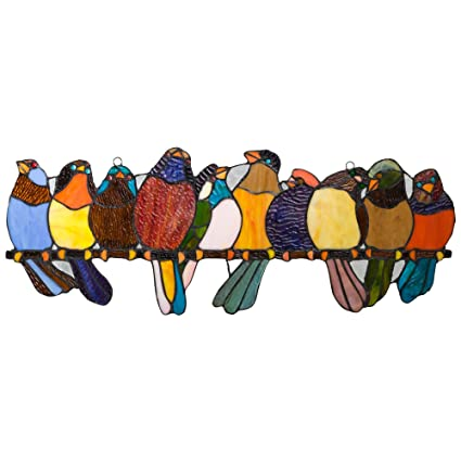 Amazon.com: River of Goods Bird Suncatcher: Stained Glass Birds on a ...