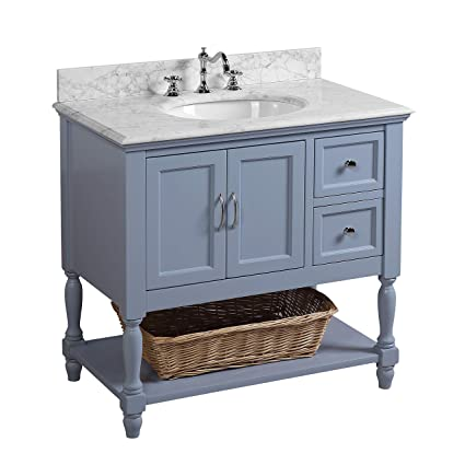 Beverly 36 Inch Bathroom Vanity Carrara Powder Blue Includes