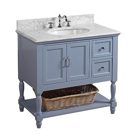 Beverly 36-inch Bathroom Vanity (Carrara/Powder Blue ...